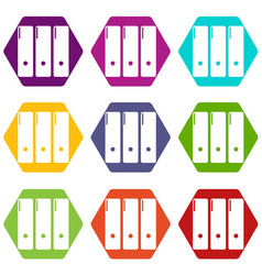 office folder icons set 9 vector image
