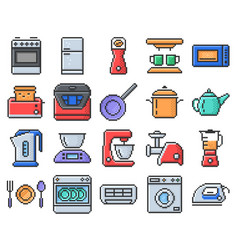 Outlined pixel icons set some kitchen utensils vector
