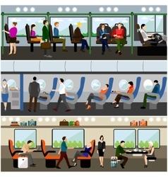 Passengers public transport concept banners vector