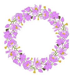 pink lotuses wreath vector image