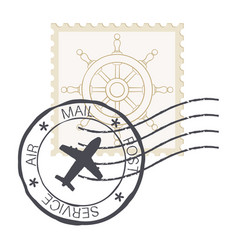post stamp with steering wheel symbol vector image