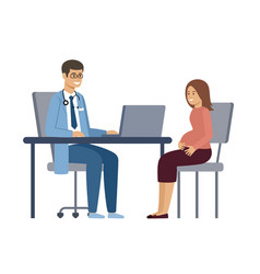 pregnant woman at consultation with a doctor vector image