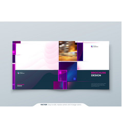 purple square brochure cover template layout vector image