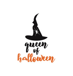 queen halloween emblem logo design holiday vector image