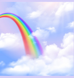 rainbow realistic background vector image