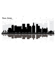 san jose california city skyline black and white vector image