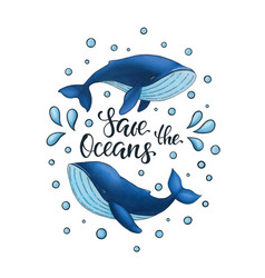 save oceans lettering with two blue vector image