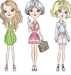 Set cute Beautiful fashion girl in short dress vector