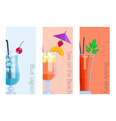 Set of alcoholic cocktails isolated fruit cold vector