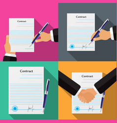 set of four different contracts vector image