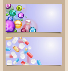 set of medical banners with falling pills vector image