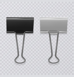 set of realistic black and white document clips vector image