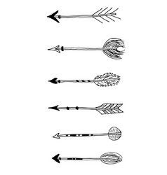 set of tribal black hand drawn arrows vector image