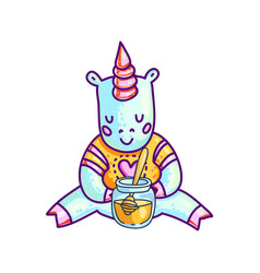 small unicorn with jar of honey vector image