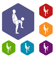 Soccer player man icons set hexagon vector