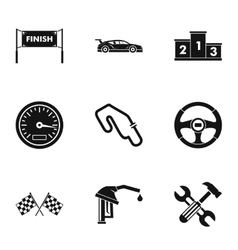 Speed cars icons set simple style vector