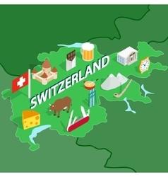 Switzerland map isometric 3d style vector image