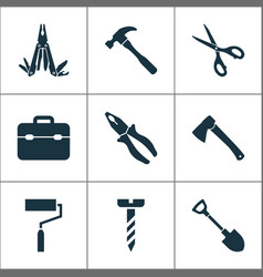 Tools icons set collection of shears paint vector