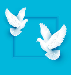 two white dove fly on blue background vector image