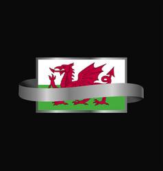 Wales flag ribbon banner design vector