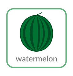watermelon icon green outline flat sign isolated vector image