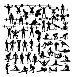 Weightlifting and exercises fitness activity vector