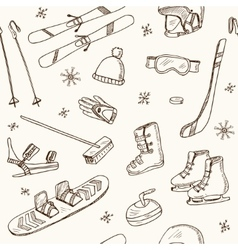 Winter Fun Sports Activities and Accessories Hand vector