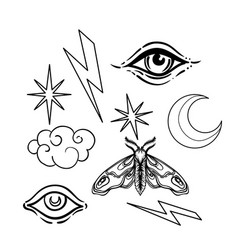 Witchcraft symbol set crescent moon moth cloud vector