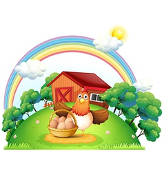 A hen with a basket of egg at the farm vector image