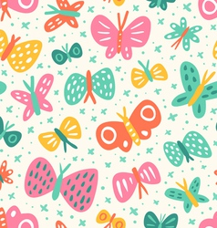 Doodle butterflies pattern vector image vector image