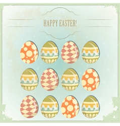 easter eggs - old postcard vector image vector image