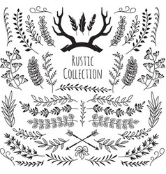 hand drawn vintage branches wreath border frames vector image
