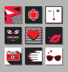 red andblack flat pop art minimal square cards vector image