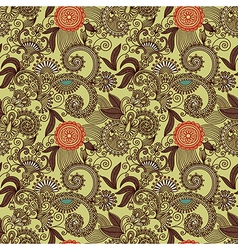 seamless flower paisley design background vector image