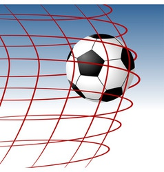 soccer ball entering the goal and hitting the net vector image