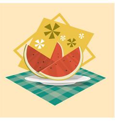 watermelon icon summer sea vacation concept vector image