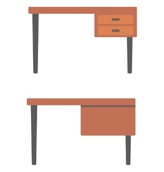 Wooden desk with drawers vector image vector image