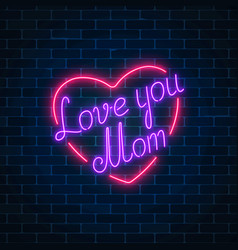 happy mothers day neon glowing festive sign on a vector image
