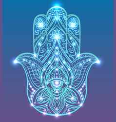neon of blue hamsa with boho pattern vector image vector image