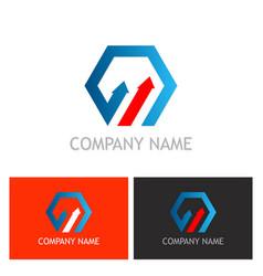 polygon arrow business logo vector image vector image