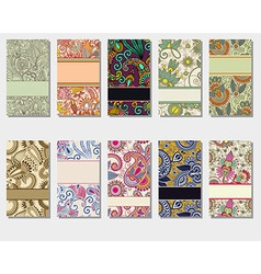 colorful floral ornamental business card element vector image
