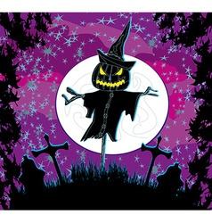creepy scarecrow in a night scene vector image vector image