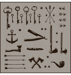 Set of hipster vintage design elements vector image