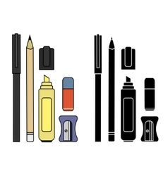 Stationery writing tools set Color Silhouette vector image