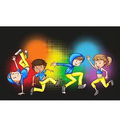 Children doing hip hop dance vector image