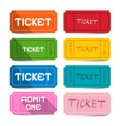 colorful paper movie tickets set isolated on vector image vector image