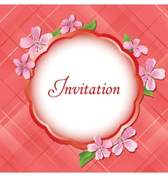 pink floral invitational card vector image