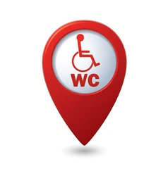 Red map pointer with restroom icon vector image