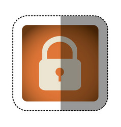sticker color square with padlock icon vector image vector image