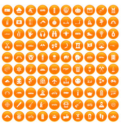 100 adventure icons set orange vector